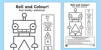 Shape Rolling Activity Sheets English/Polish - Shape Rolling Worksheet - shape, shape rolling, worksheet, shapes, shpes, shaoe, Polish translation