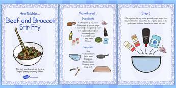 Beef and Broccoli Stir Fry Recipe Cards - beef, broccoli, recipe