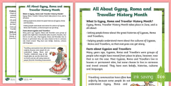 KS2 Gypsy, Roma and Traveller History Month Differentiated Fact File - KS2 GRTHM, Gypsy, Roma, Traveller History Month, KS2, key stage 2, fact file, non fiction, June, eve