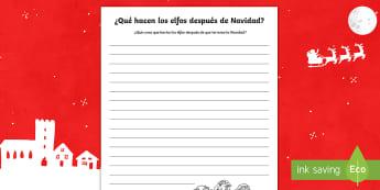 ¿Qué hacen los elfos despise de Navidad? Pautas - Navidad, pauta, elfos, escritura, área temática, Spanish