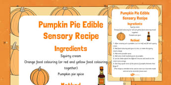 Pumpkin Pie Edible Sensory Recipe - pumpkin pie, edible, sensory, recipe, cook, food