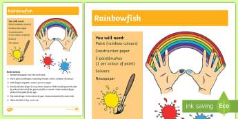 Rainbowfish Hand Printing Activity - print, art, craft, hand, feet, sensory, shape,
