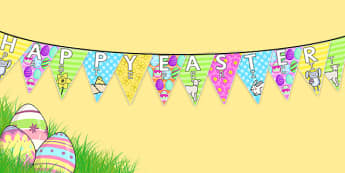 Happy Easter Display Bunting Romanian Translation - romanian, bunting, decorations, display, display bunting, happy easter, easter, happy easter bunting, easter bunting, happy easter display, classroom decorations, for decorating your classroom