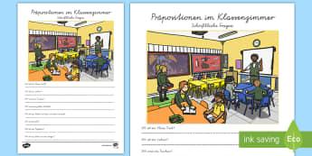 Präpositionen im Klassenzimmer Arbeitsblatt - Position, Lage, Stellung, Wortarten, VA, Druckschrift, ,German