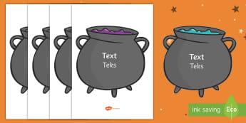A4 Editable Halloween Cauldrons English/Afrikaans - October, Oktober, colours, kleure, celebration, EAL