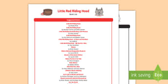 EYFS Little Red Riding Hood Book List - Little Red Riding Hood, traditional tales, wolves, wolf