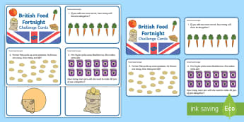 KS1 British Food Fortnight Math Challenge Cards - numeracy, foods, calculations, word problems, year 1, year 2
