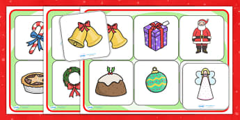 Christmas Pictures SEN Matching Mat - christmas, christmas pictures, SEN, matching mat, SEN mat, themed matching mat, themed SEN mat, picture mat