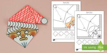 Simple Origami Christmas Santa Paper Craft US English/Spanish (Latin) - 3D paper craft, Santa, Father Christmas, decoration, christmas, ESL