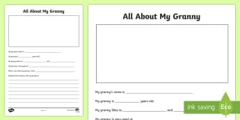 All about My Granny Activity Sheet - Grandparent's Day Pack, grandparents, family, granny, grandma, nan, nanna, memories,Irish