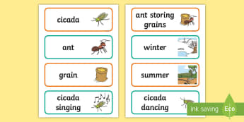 The Cicada and the Ant Word Cards - Traditional Thai Tales, fables, stories, display
