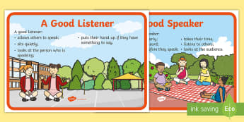 A Good Speaker and A Good Listener Display Posters - Listener, Speaker, Oral, language, group, ,Irish