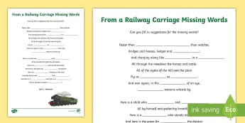From a Railway Carriage Missing Words Activity Sheet - CfE Literacy, reading comprehension strategies, poems, From a Railway Carriage, worksheet, poem idea