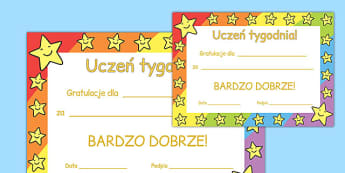 Star of the Week Award Certificate Polish - polish, star of the week, award, certificate
