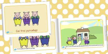 Cei trei Purcelusi, rezumat cu imagini, carte electronica, Romanian