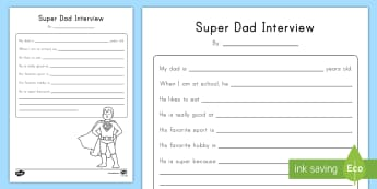 Super Dad Interview Activity Sheet - Father's Day for Early Childhood, Father's Day Pre-K, Father's Day preschool, Father's Day activ