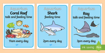The Aquarium Feeding Times Role Play Posters - aquarium, feeding, times, feeding times, role, play, role play, poster, feeding time poster, aquarium poster