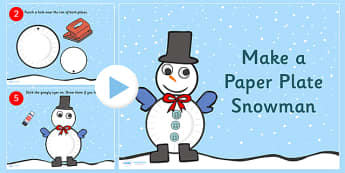 How to Make  a Paper Plate Snowman Activity PowerPoint - snowman, winter, christmas, christmas activity, christmas crafts, powerpoint, christmas powerpoint