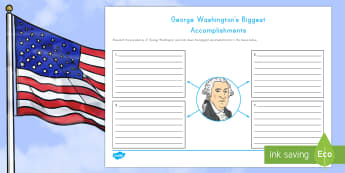 George Washington's Biggest Accomplishments Writing Activity Sheet - George Washington worksheet. American Presidents, American History, Social Studies