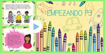 Pack de actividades para la vuelta al cole PowerPoint - Pack de actividades para la vuelta al cole, primer día, cuento, historia, sentimientos,Spanish
