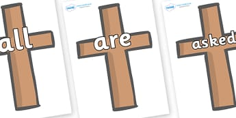 Tricky Words on Crosses - Tricky words, DfES Letters and Sounds, Letters and sounds, display, words