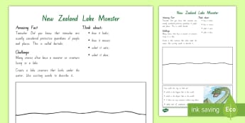 Years 3 and 4 Chapter Chat Week 2 New Zealand Lake Monsters Activity to Support Teaching On The Lonely Lake Monster by Suzanne Selfors - literacy, reading, year 3, year 4, chapter chat, suzanne selfors, the lonely lake monster