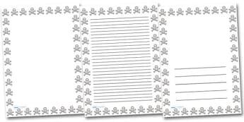 Skull and Cross Bones Portrait Page Borders- Portrait Page Borders - Page border, border, writing template, writing aid, writing frame, a4 border, template, templates, landscape