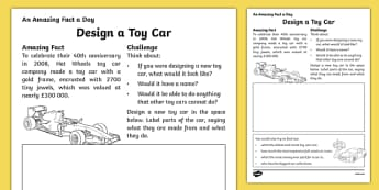 Design a Toy Car Activity Sheet, worksheet