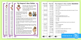 KS1 The Emperor's New Clothes Differentiated Comprehension Go Respond Activity Sheets - Key Stage One, KS1, Year 1, Year One, Year 2, Year Two, Traditional Tale, Traditional Story, Folk Ta
