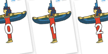 Numbers 0-31 on Egyptians - 0-31, foundation stage numeracy, Number recognition, Number flashcards, counting, number frieze, Display numbers, number posters
