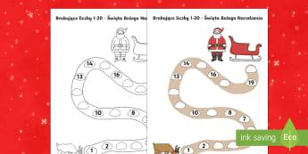 Karta Brakujące liczby od 1 do 20 Święta Bożego Narodzenia - święta, boże narodzenie, gwiazdka, gwiazdkowy, mikołaj, choinka, świąteczny, renifer, gwiazdor