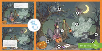 KS2 Halloween Picture Hotspots - Pumpkin, witch, Trick or Treat, Spider, fancy dress