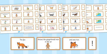 The Gingerbread Man Sentence Building Cards - gingerbread man