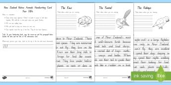 Native New Zealand Animals Handwriting Year 3&4 Activity Sheets - Worksheets, New Zealand handwriting, handwriting cards, handwriting practice, year 3 handwriting, ye