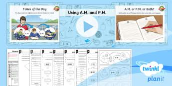 PlanIt Y3 Measurement Lesson Pack Time Vocabulary (2) - vocabulary, measurement, time, digital, a.m., p.m.