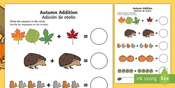 Autumn up to 10 Addition Sheet - English/Spanish  - Autumn Addition Sheet - autumn, addition sheet, addition, maths, numeracy, adding, seasons, addition