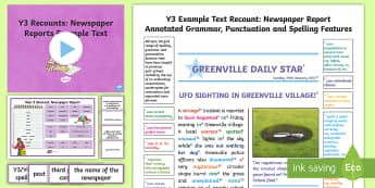 Y3 Recounts: Newspaper Report Model/ Example Text - genre, WAGOLL, exemplar, non-fiction, text, text features, SPaG, GPS, example, exemplifications, por