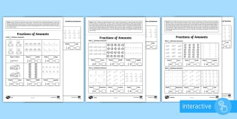 Year 2 Fractions of Amounts Homework Go Respond  Activity Sheets - year 2, maths, homework, fractions