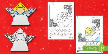 Simple Origami Christmas Angel Paper Craft US English/Spanish (Latin) - angel, angle, Gabriel, nativity. choir, folding, paper, baby Jesus, Mary, spanish, español, esl, ea