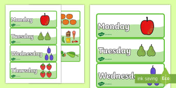 Days of the Week Word Cards to Support Teaching on The Very Hungry Caterpillar - the very hungry caterpillar, days of the week, days of the week cards, caterpillar themed