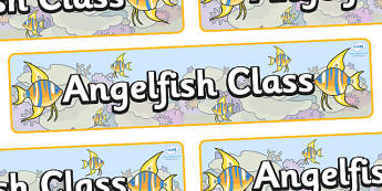 Angel Fish Themed Classroom Display Banner - Themed banner, banner, display banner, Classroom labels, Area labels, Poster, Display, Areas