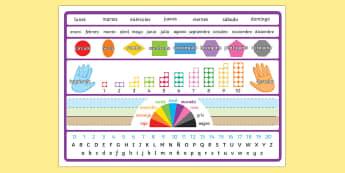 Tapiz de referencia visual - tapiz, vocabulario, días, semana, fecha, izquierda, derecha, colores, abecedario, alfabeto, referencia