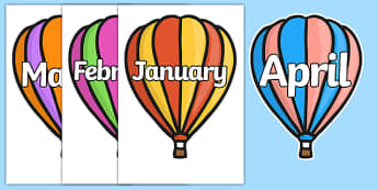 Months of the Year on Hot Air Balloons (stripes) - Balloons, hot air balloon, Weeks poster, Months display, display, poster, frieze, Days of the week
