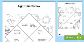 Light Chatterbox Activity - illuminate, light sources, ACSSU020, ligthwaves, fortune teller,Australia