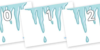 Numbers 0-31 on Icicles - 0-31, foundation stage numeracy, Number recognition, Number flashcards, counting, number frieze, Display numbers, number posters
