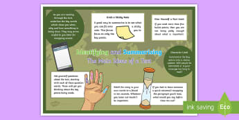 KS2 Identifying and Summarising the Main Ideas of a Text Display Poster  - reading, comprehension, summary, themes, classroom environment