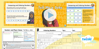 PlanIt Y3 Number and Place Value Lesson Pack Compare and Order Numbers (3) - comparison, problem solving, maths mastery, jokes, year 3, fun maths,smallest, largest, place value,