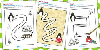Monty the Penguin Pencil Control Path Worksheets - monty, penguin
