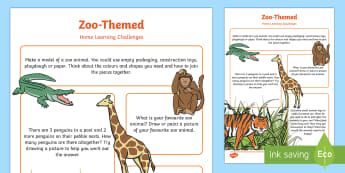 Zoo-Themed Home Learning Challenges Nursery FS1 - EYFS, Early Years, home school links, homework, home learning, Zoo, Animals.