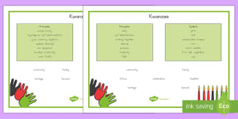 Kwanzaa Word Mats - Kwanzaa, vocabulary, black history, festivals, words, swahili